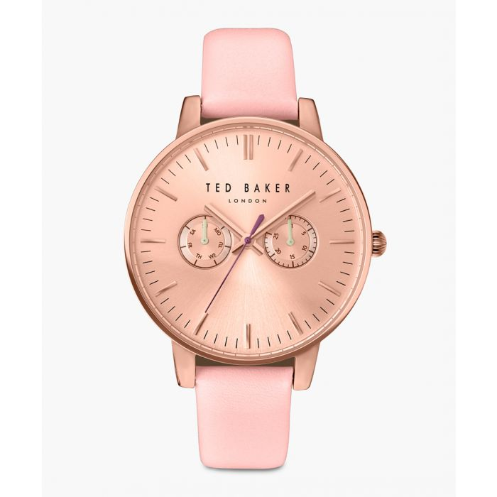Image for Pink leather and stainless steel watch