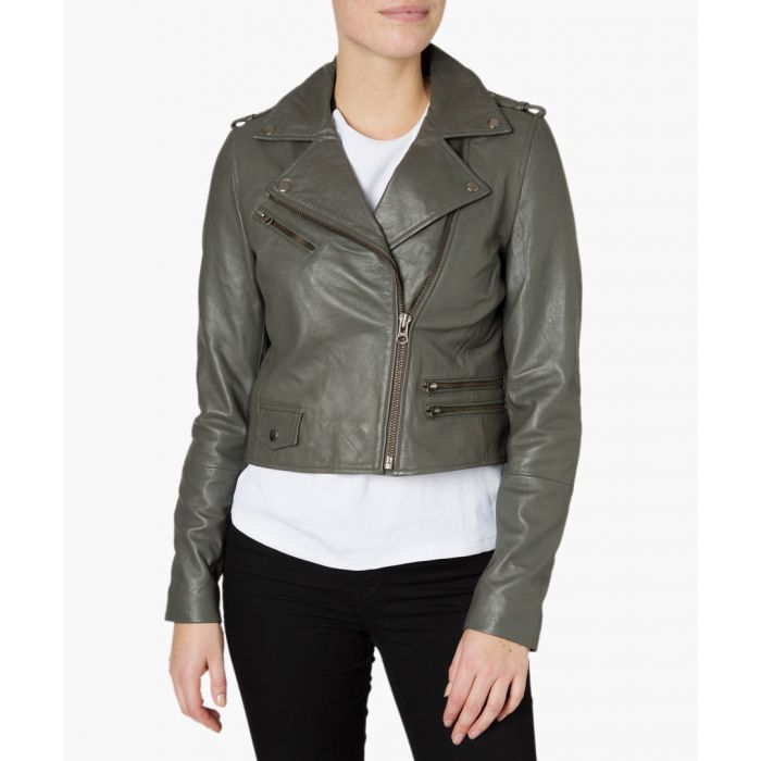 Image for Columbia dark grey leather crop jacket