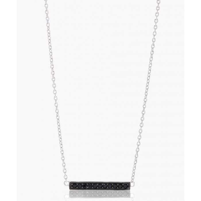 Image for Simeri black and sterling silver bar necklace