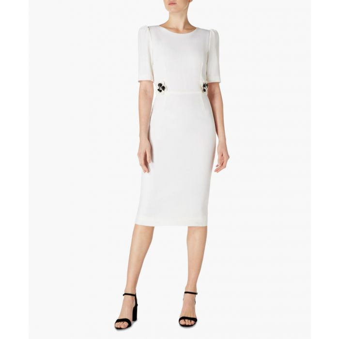 Image for Hush cream wool crepe pencil dress