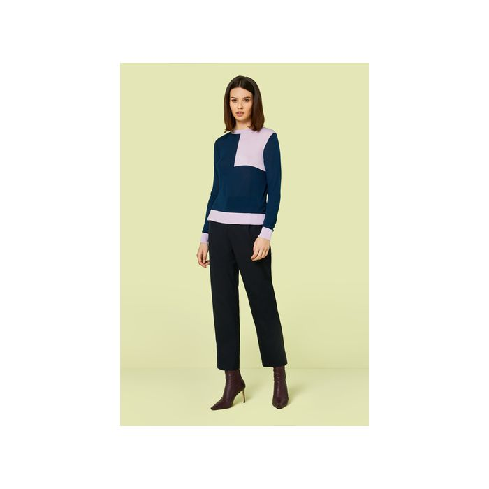 Image for Roux Navy and Lilac Knitted Jumper - Multi