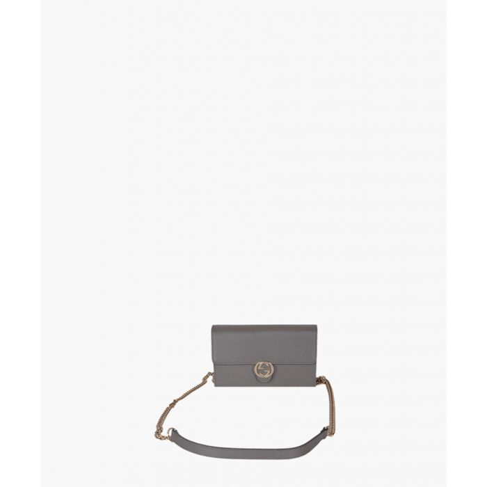 Image for Grey leather crossbody