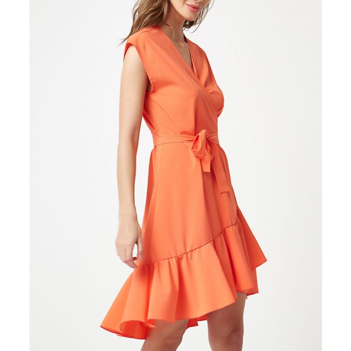 Image for Orange wrap ruffle mini dress