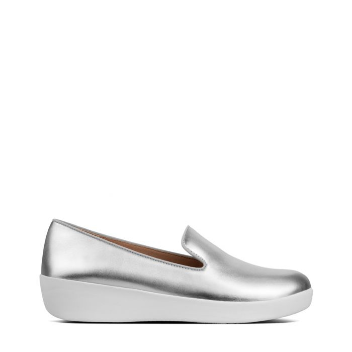 Image for Audrey silver-tone leather slip-ons