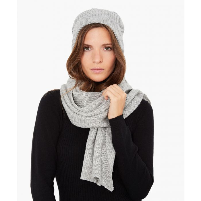 Image for 2pc grey cashmere and mohair blend scarf and cap set