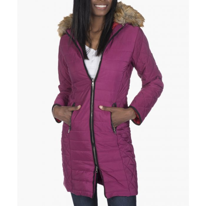 Image for Fuchsia pink quilted coat