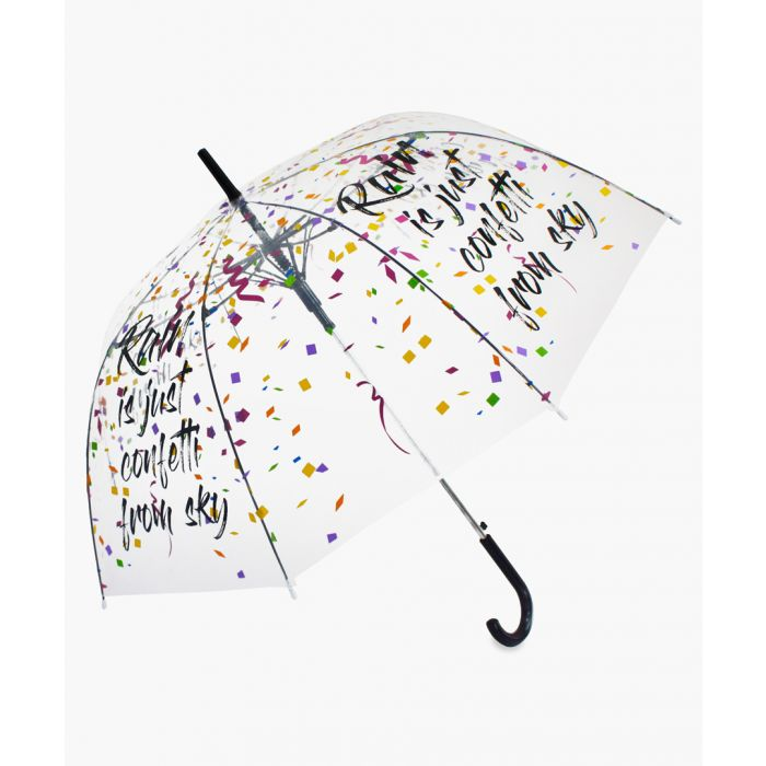 Image for Rain is confetti from sky slogan printed transparent umbrella