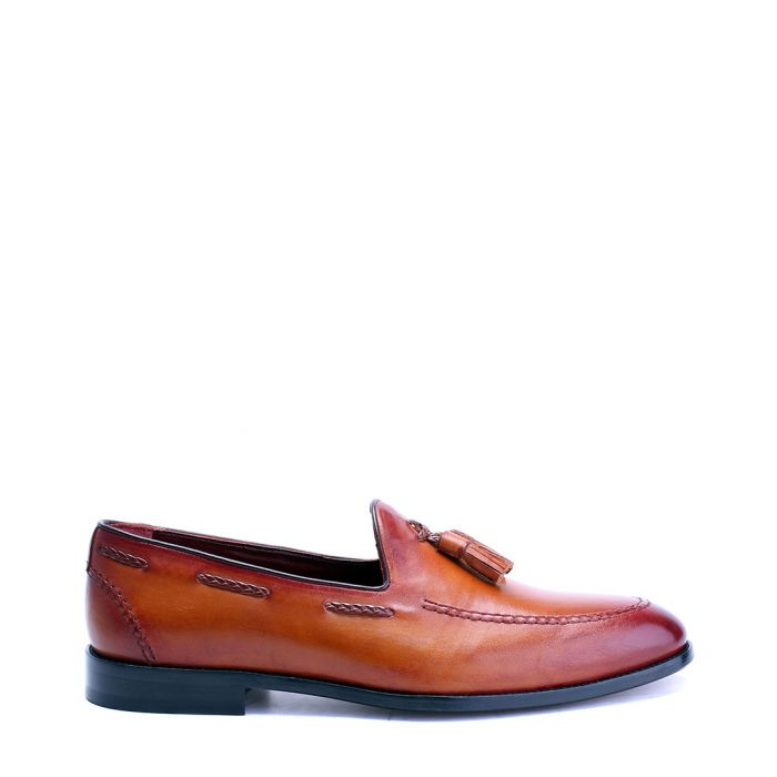 Image for Antique tan leather tassel loafers