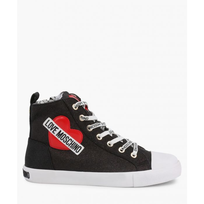 Image for Black faux-leather trainers