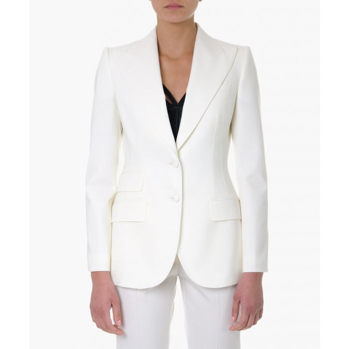 Image for White stretch wool single-breasted blazer