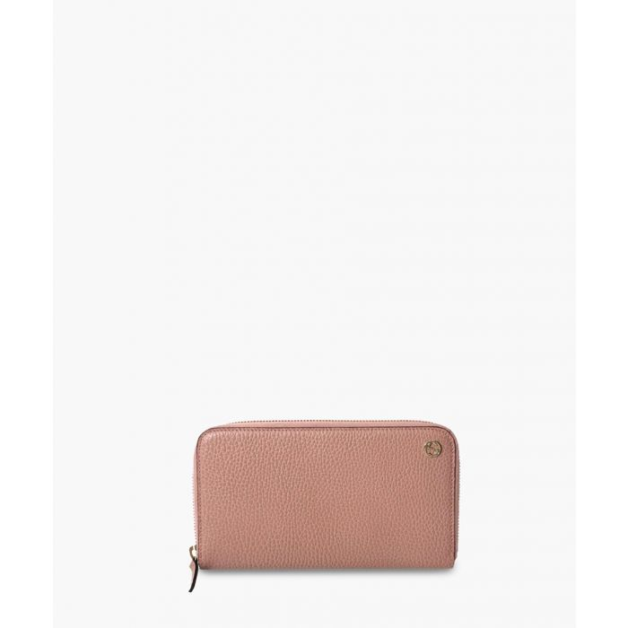 Image for Pink grain-leather zip-around wallet