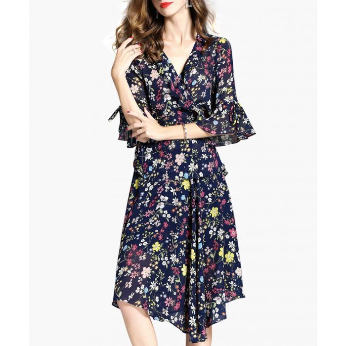 Image for 2pc navy floral blouse & skirt set