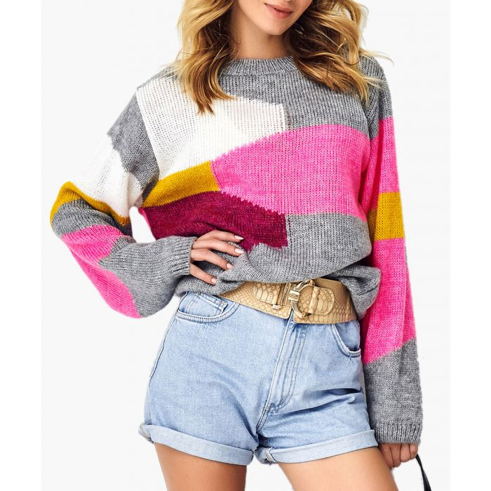 Image for Grey and neon pink wool blend jumper