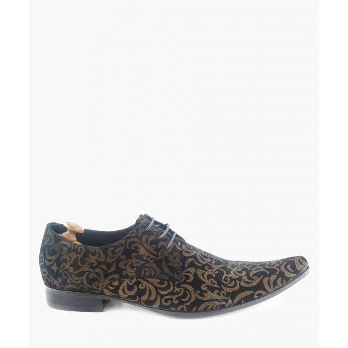 Image for Jag black and gold suede Derby shoes