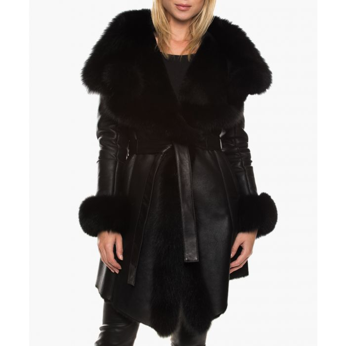 Image for Lottie black leather and fur coat