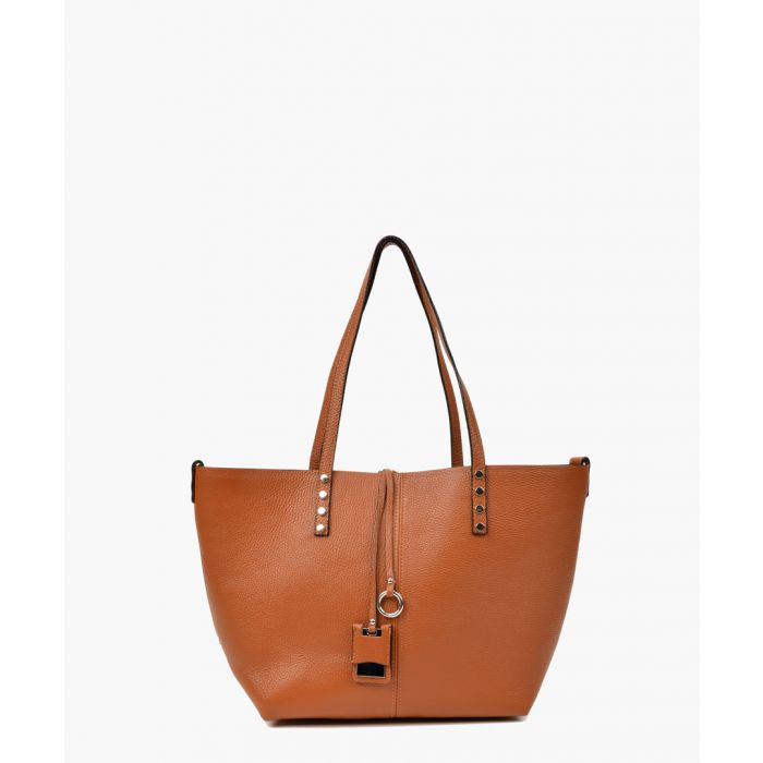 Image for Cognac leather shopper