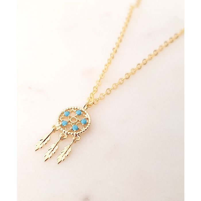 Image for Petite Dreamcatcher 14k gold-plated necklace