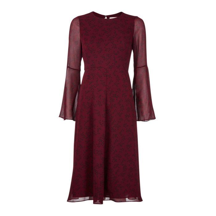 Image for Celia ruby floral sheer sleeve dress