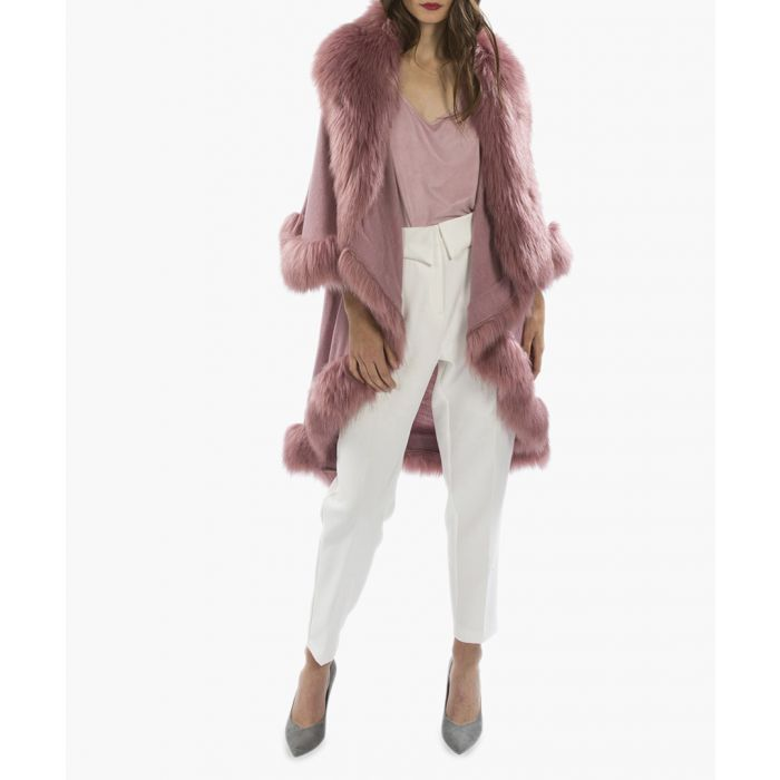 Image for Light pink knitted luxury faux fur cape