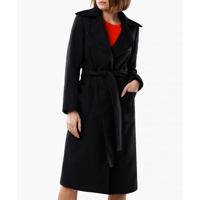 Image for Black wool-cashmere blend belted coat