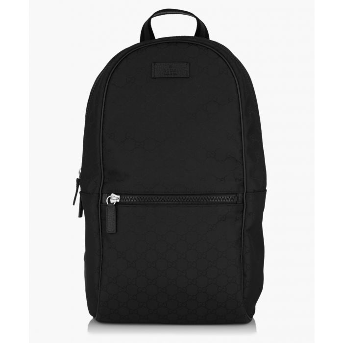 Image for Black GG canvas and leather backpack