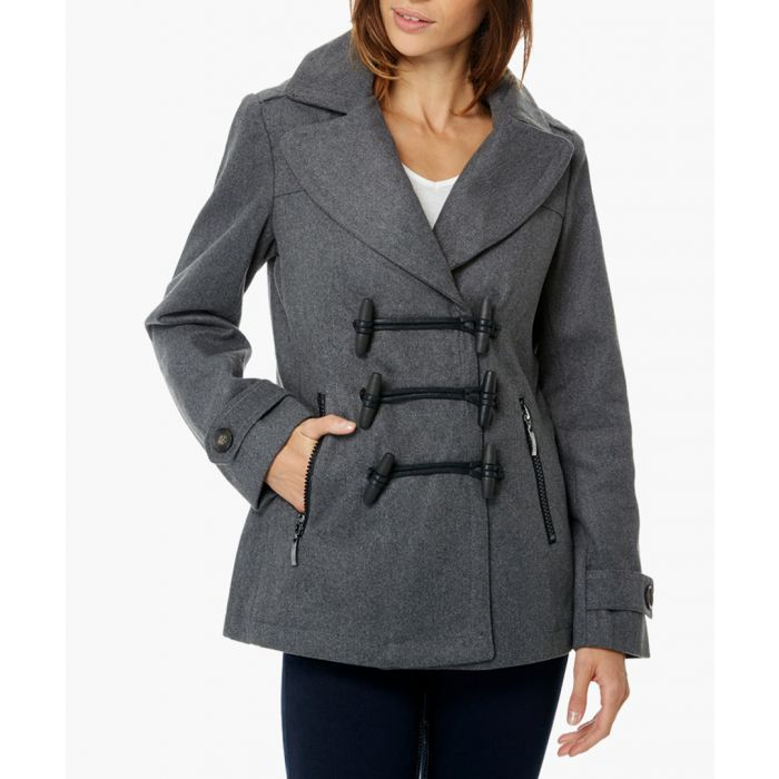 Image for Copa grey wool blend short duffle coat
