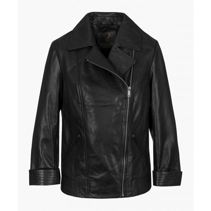Image for Womens black classic asymmetric biker jackets