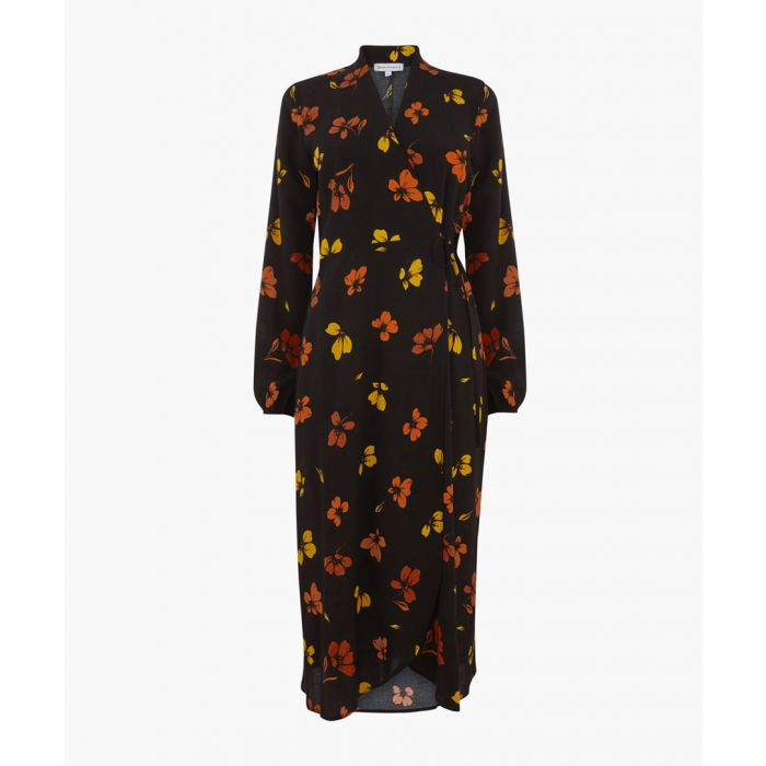 Image for Black floral wrap midi dress