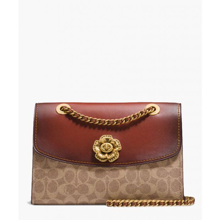 Image for Rust leather fold-over shoulder bag