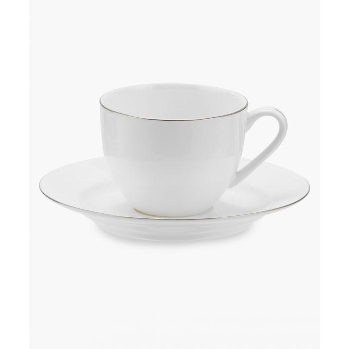 Image for 4pc Serendipity platinum band bone china teacup and saucer set
