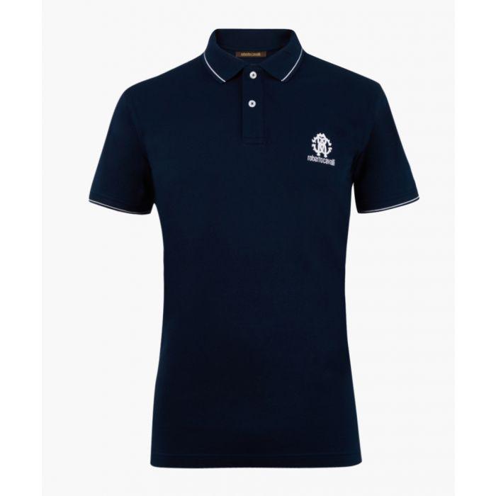 Image for Navy pure cotton logo polo shirt