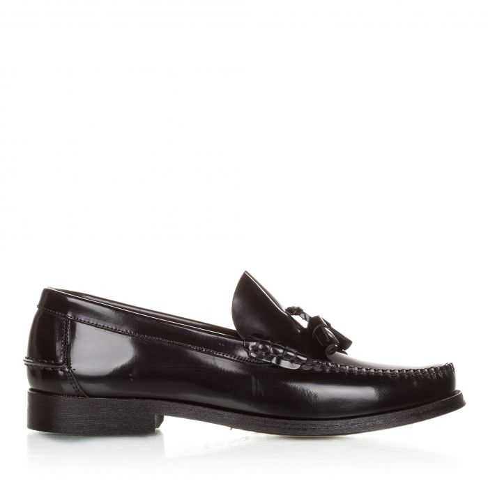 Image for Black leather tassel moccasins