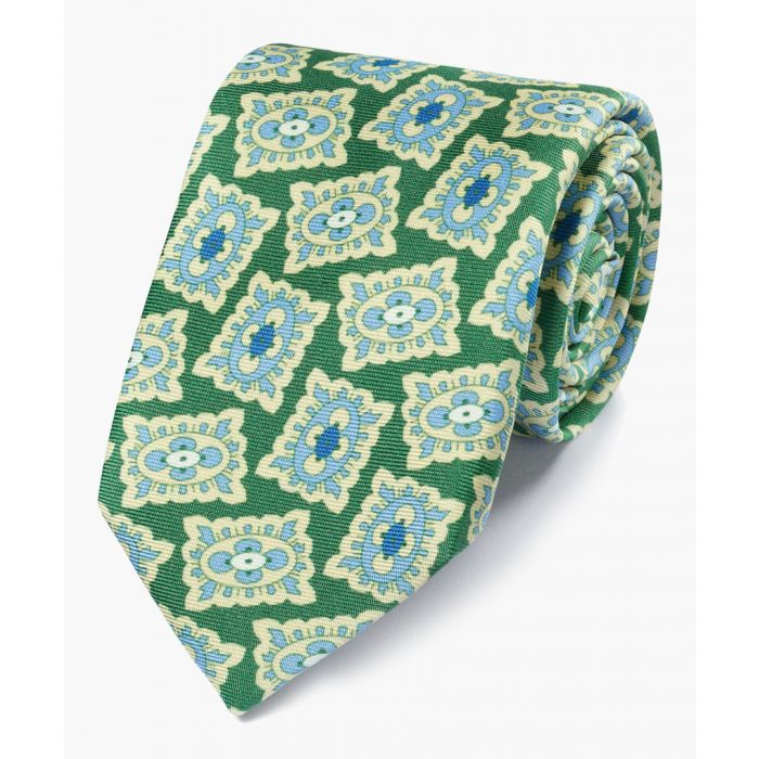 Image for Green and blue silk medallion print English luxury tie