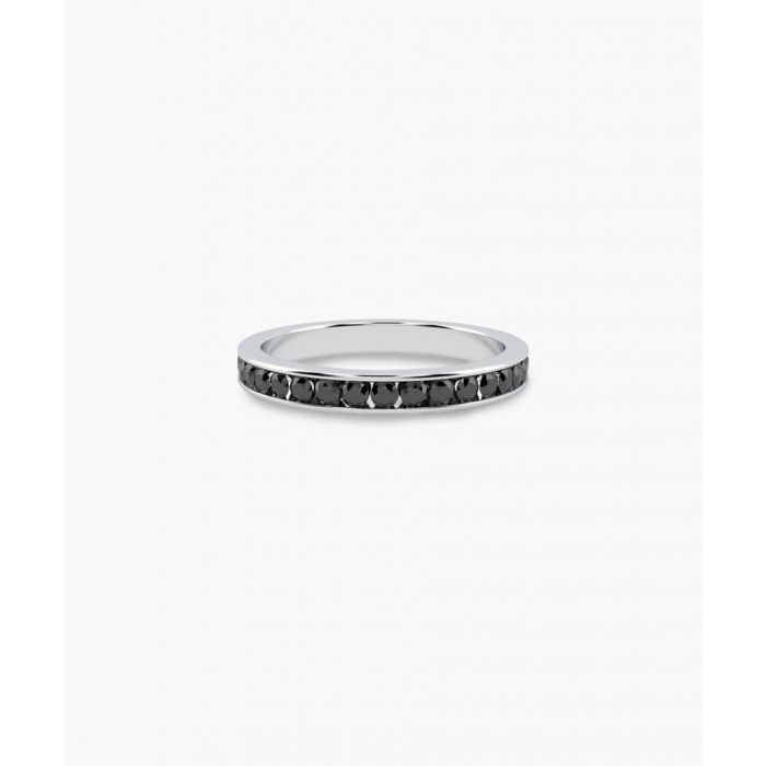 Image for 9k white gold and black diamond half eternity ring