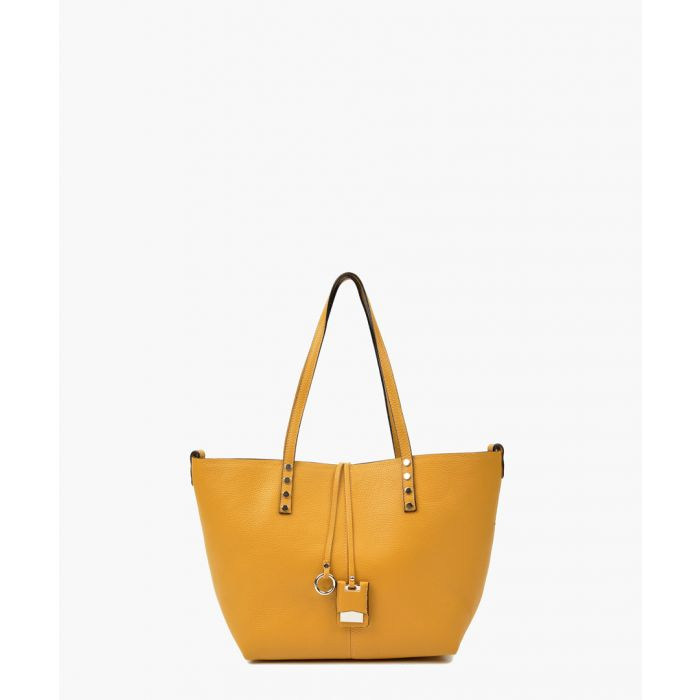 Image for Yellow leather shopper