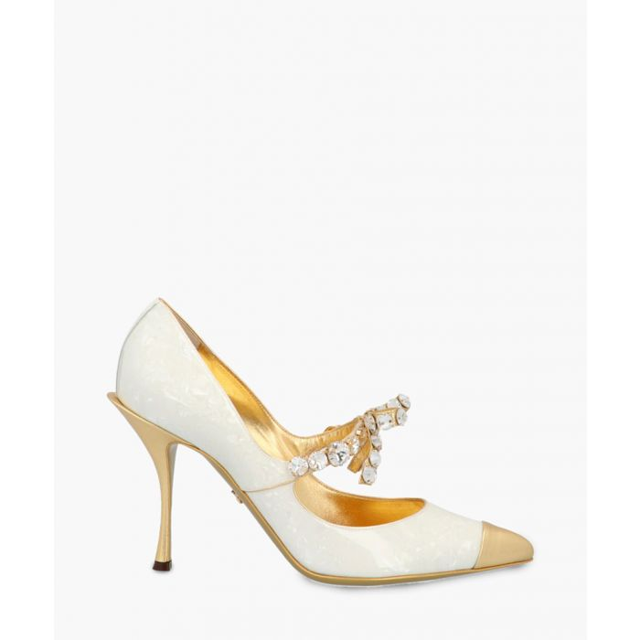 Image for Lori leather mother-of-pearl print embellished Mary Jane pumps