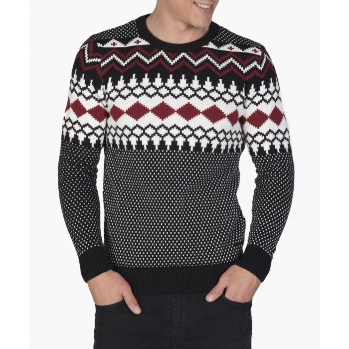 Image for Black and bordeaux patterned jumper
