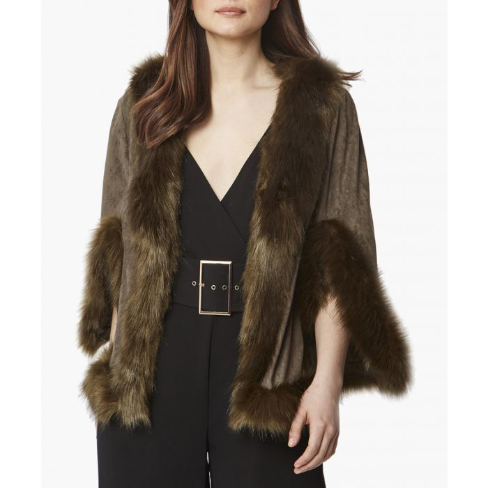 Image for Green faux fur cape jacket