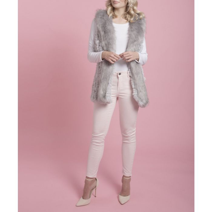 Image for Grey faux fur gilet