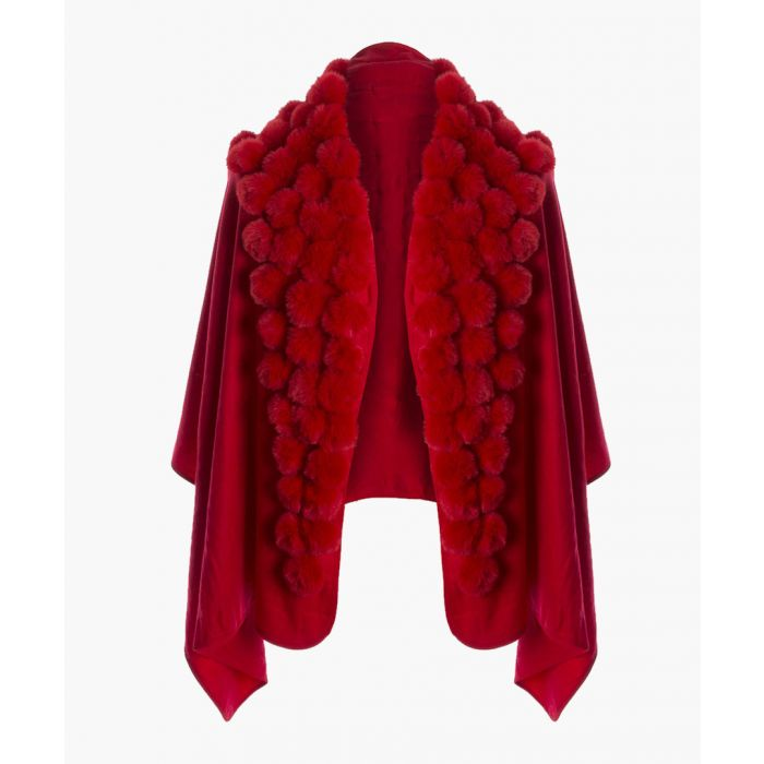Image for Red cashmere blend faux fur pompom wrap