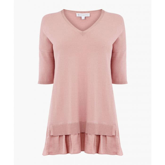 Image for Light pink woven hem V-neck jumper