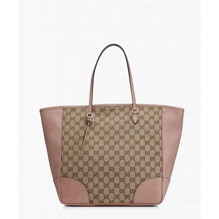 Image for Beige and dusty pink canvas shopper bag