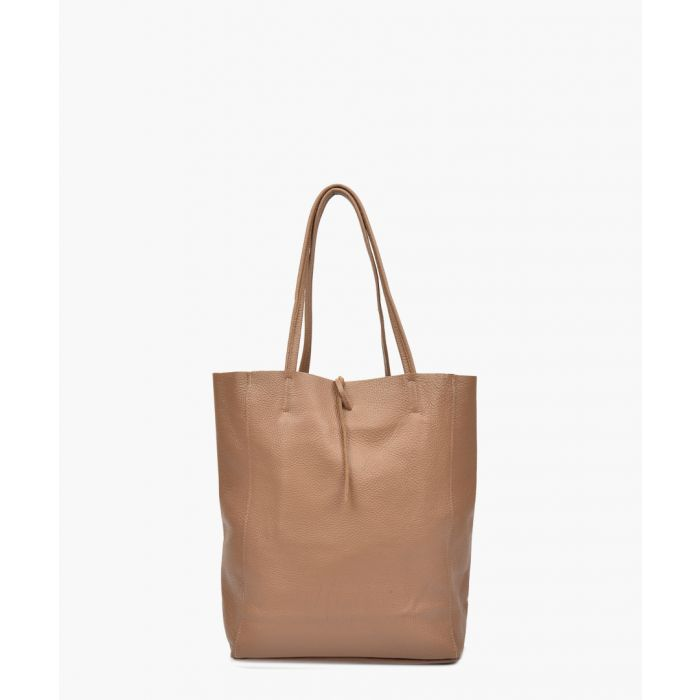 Image for Taupe leather shopper