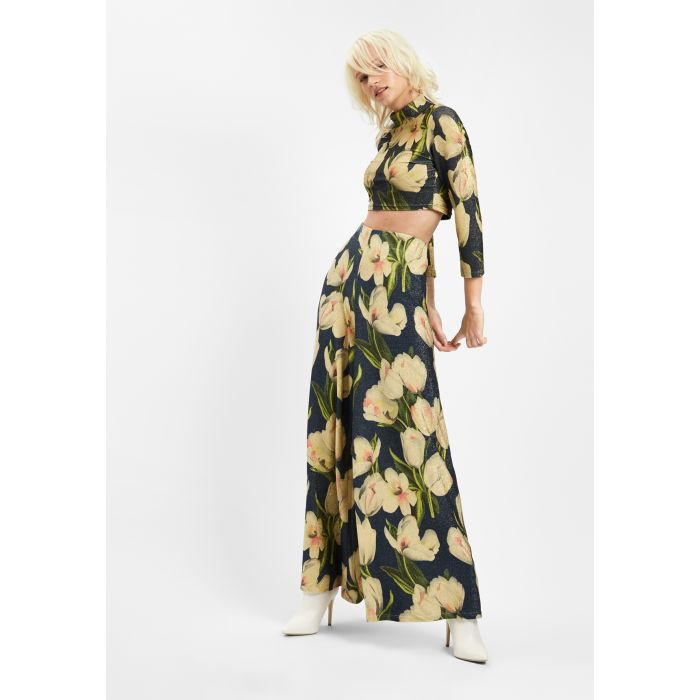 Image for Floral Wide Leg Palazzo Printed Trousers in Blue