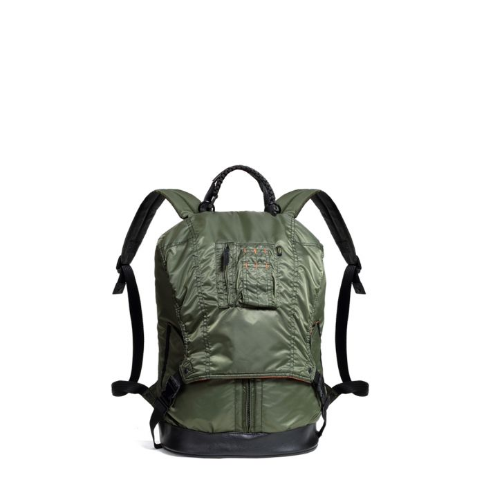 Image for MA-1 khaki nylon and leather backpack