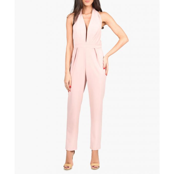 Image for Light pink plunging halterneck jumpsuit