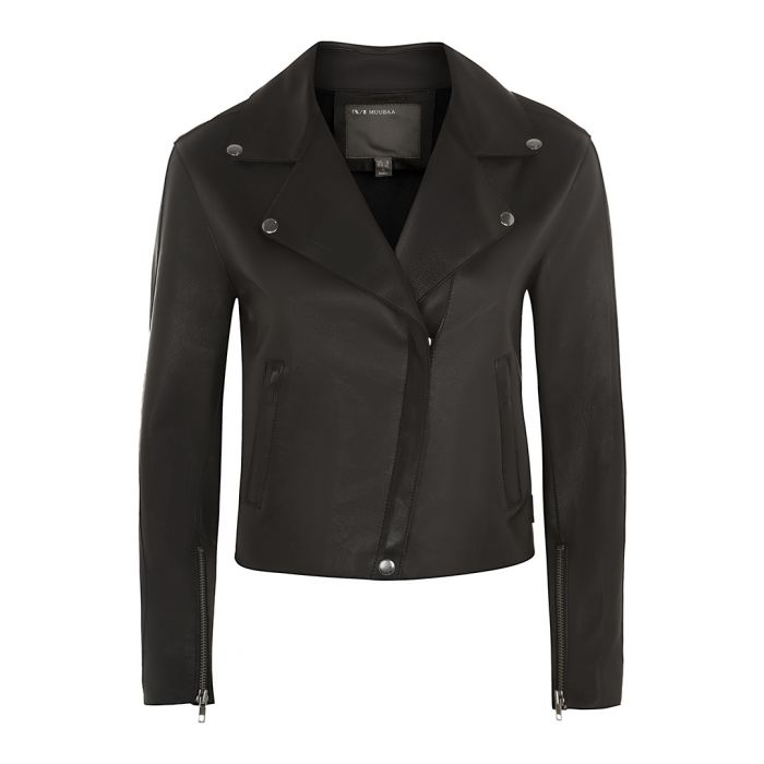 Image for Pasco black leather bonded jacket