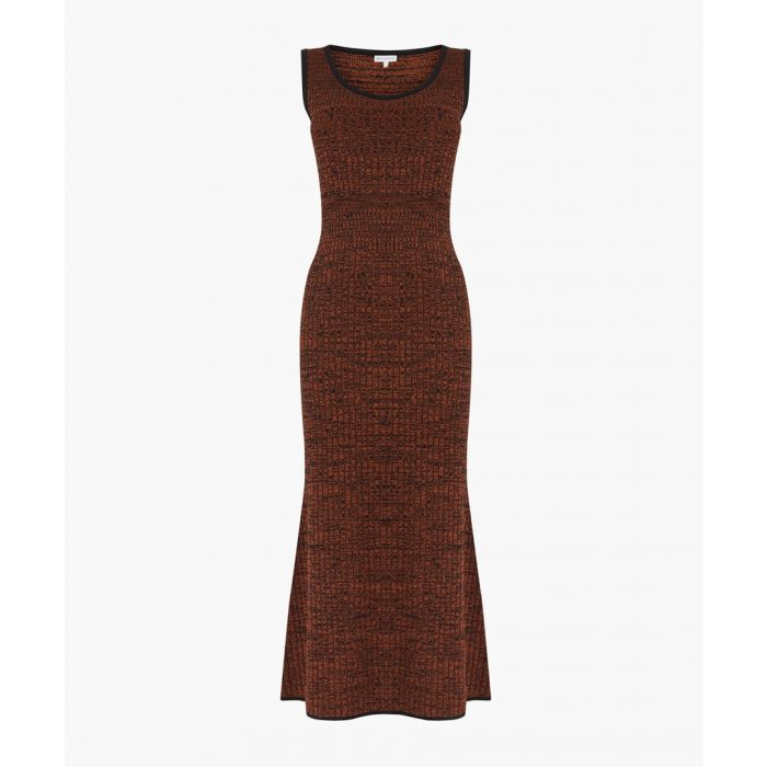 Image for Rust twisted yarn ribbed dress