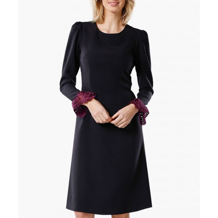 Image for Black and maroon woven dress