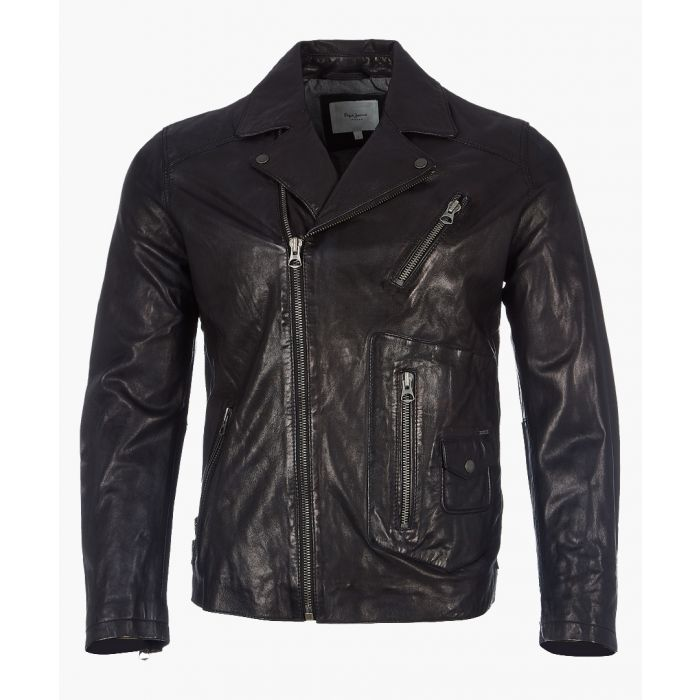 Image for Seaton black leather jacket
